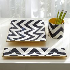 Chevron desk accessories. Cute..have to try with that sharpie on plates or cups. I think I pinned it.