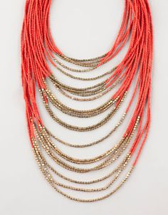 Coral beads necklace Bershka