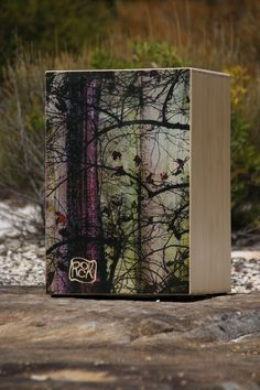 my newly designed rockbox cajon into the wild. The design is printed directly upon the timber absorbing into the grain,very effective and long wearing.Sort of like a tattoo for wood.