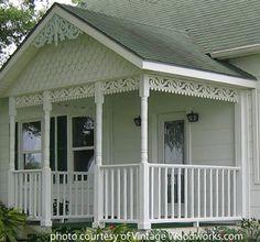 spandrels running between front porch columns Victorian Porch, Victorian Cottage, Victorian Homes, Porch Trim, Front Porch Columns, Front Porches, House Trim, House Siding, Cottage Porch