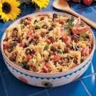 Taco Pasta Salad-made this without the meat & added corn, black beans, salsa & spicy chilli dorito chips on top--and homemade catalina dressing