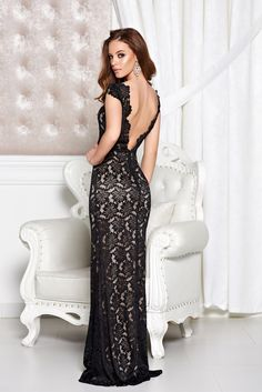StarShinerS Special Sirene Black Dress, accessorized with tied waistband, mermaid dress, form-fitting, bare back, laced fabric, elastic fabric