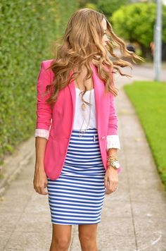 Shop this look on Lookastic:  http://lookastic.com/women/looks/neon-pink-blazer-and-white-crew-neck-t-shirt-and-white-and-blue-pencil-skirt/990  — Hot Pink Blazer  — White Crew-neck T-shirt  — White and Blue Horizontal Striped Pencil Skirt