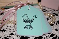 Baby Shower Gift Tags  Girl  Pink  Baby Stroller  by Booksonblocks, $3.95