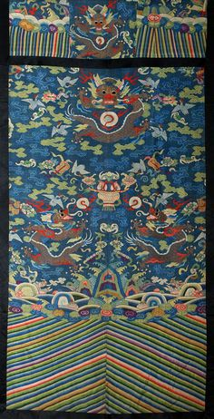Antique Chinese Kesi Textile panel with gold thread Dragon, 1800 - 1900 AD