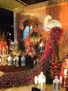 Whose designing your dream wedding? Select from the best & check out our Favourite Wedding Planner & Decor Artist of the Month - Abhinav Bhagat Events! Wedding Stage Decorations, Backdrop Decorations, Wedding Themes, Flower Decorations, Peacock Decor, Peacock Theme, Wedding Entrance, Planner Decorating, Arte Floral