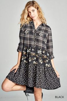 ab923bcabae Plaid non-stretch woven shirt dress with long sleeves and a tiered floral  print skirt
