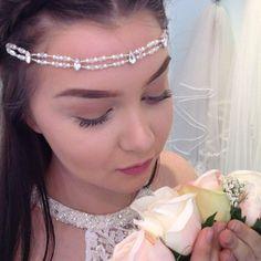 Swarovski rhinestone, pearl and crystal handmade forehead hair piece. Bridal Hair Accessories, Hair Pieces, Swarovski, Couture, Hair Accessory, Crystals, Unique, Bespoke, Handmade