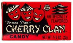 Cherry Clan Fridge Magnet 2 x 3 inches Candy Label Box Wrapper 80s Candy, Retro Candy, Vintage Candy, Vintage Food, Vintage Stuff, Sweet Memories, Childhood Memories, 1980s Childhood, Puerto Rico