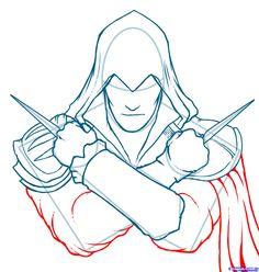how to draw ezio, assassins creed, ezio step 6