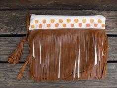 Leather Fringe Clutch Boho Festival Bag Gypsy by melmaxdesigns, $78.00