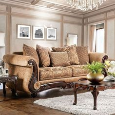 Ersa Traditional Wood Trim Chenille Fabric Gold/Bronze Sofa by Furniture of America Mentioned in a story I'm reading so I had to check it out - so not my style but I can appreciate the wonderful workmanship Sofa Furniture, Shabby Chic Furniture, Living Room Furniture, Living Room Decor, Furniture Outlet, Online Furniture, Brown Furniture, Tuscan Furniture, Furniture Movers