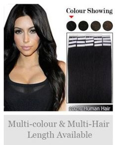 "New Style 16"" 20pcs Remy Hair Tape in Extensions"