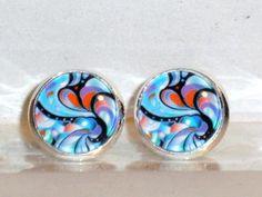 Ohrringe und Ohrstecker im Onlineshop - Verrückte Ohrringe und Schmuck Welt  - Ohrstecker Muster Abstrakt blau Glas Metall Legierung Fassung Neuware