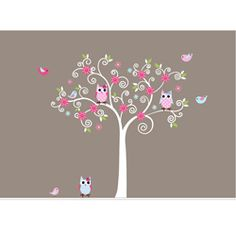 @Overstock - Update your childs room with this bright tree branch wall decal. This sweet little accent piece features cute owls and birds that are sure to make your kid smile. Its easy to secure to the wall, as its made of the highest quality 3M vinyl.http://www.overstock.com/Baby/Nursery-Wall-Art-Girls-Curl-Tree-Branch-Decal-Set/6464425/product.html?CID=214117 $69.99