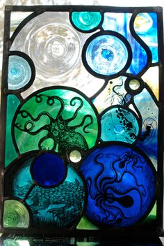 Octopus's Garden Stained Glass Panel by HaltGlass on Etsy