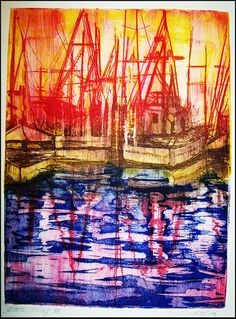 Printmaking. Intaglio print...Seascape... Collagraph, Intaglio Printmaking, Wood Engraving, Wood Print, Illustration Art, Illustrations, Graphic Art, Cool Art, Fine Art