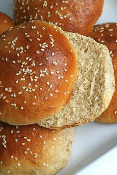 homemade honey wheat hamburger buns--- delicious, freezer-friendly, great for burgers of all kinds    Been there. Made that. Ate that.