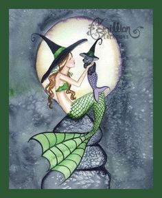 Little Kitty Mermaid Witch from Original Watercolor Painting by Camille Grimshaw Real Mermaids, Mermaids And Mermen, Fantasy Mermaids, Witch Art, Sea Witch, Mermaid Images, Mermaid Kisses, Mermaid Fairy, Halloween Art