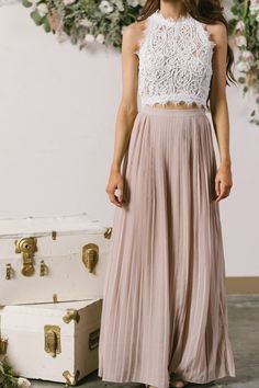 Our Classic Collection wouldn't be complete without a pleated maxi skirt! - Our Classic Collection wouldn't be complete without a pleated maxi skirt! Gold Prom Dresses, Bridesmaid Dresses, Summer Dresses, Bridesmaid Skirt And Top, The Dress, Dress Skirt, Long Skirt Outfits, Modest Outfits, Classy Outfits