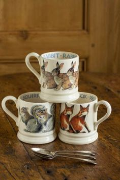 Emma Bridgewater Pottery, Woodlands Cottage, Animal Mugs, Forest Girl, Thanksgiving Table Settings, Terracota, Weathered Wood, Gifts For Kids, Dinnerware