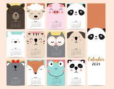New Year Calendar, Cute Calendar, Free Printable Calendar, Panda Dog, Dog Cat, New Year Coloring Pages, Calendar Design Template, Bullet Journal Books, Cute School Supplies