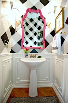 Powder Bath Makeover ||  Dimples and Tangles  || buffalo check walls and pink mirror