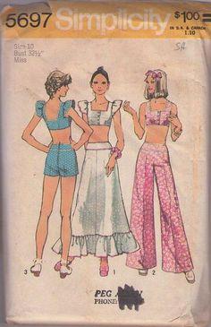 MOMSPatterns Vintage Sewing Patterns - Simplicity 5697 Vintage 70's Sewing Pattern DARLING Mod Babydoll Ruffled Cropped Bra Top, Piping Trim Hot Pants Shorts, Palazzo Pants, Ruffled Skirt Size 10