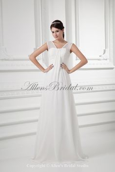 Chiffon Sweetheart Neckline Empire Chapel Train Wedding Dress on sale at affordable prices, buy Chiffon Sweetheart Neckline Empire Chapel Train Wedding Dress at AllensBridal.com now!