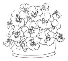 pansies made with circle punch Colouring Pages, Adult Coloring Pages, Coloring Books, Ribbon Embroidery, Embroidery Stitches, Embroidery Patterns, Painting Patterns, Craft Patterns, Digi Stamps