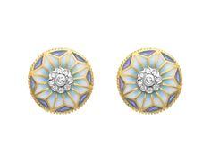 """Fine Flower AR-234. 18kt yellow gold earrings with """"plique-à-jour"""" fired enamel and diamonds. #jewelry #artnouveau #enamel #barcelona"""