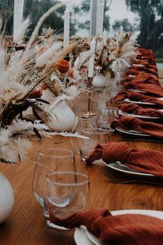 Floral Wedding, Wedding Colors, Rustic Wedding, Chic Wedding, Trendy Wedding, Wedding Reception Tables, Wedding Table Settings, Boho Wedding Decorations, Wedding Centerpieces