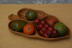 I Like Mike's Mid Century Modern - DANISH MODERN CARVED WOODEN FRUIT IN A BOWL