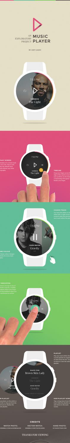 Smartwatch Music App (Concept) by Amit Jakhu, via Behance Wearable Device, Wearable Technology, Mobile Watch, Web Design, Design Styles, Stationary Design, Music App, Ui Design Inspiration, Mobile App Design