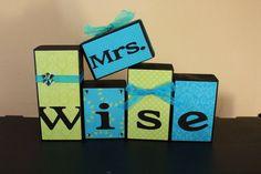 I want!  Teachers Name Wooden Block Set Custom Teacher gift Classroom decor personalized. $4.00, via Etsy.