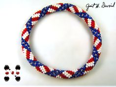 Stars and Stripes Bead Crochet Bracelet - 475