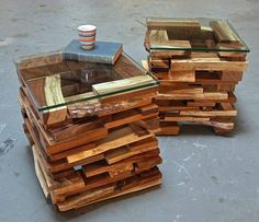 Stacked pallet planks become stylish end tables.
