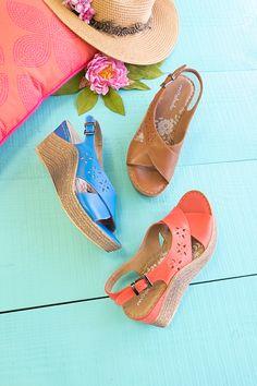 Lavender, leather wedge sandals   Moshulu