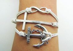 Silver Cross& Anchor And Infinity Wish Bracelet  White by Haoyou, $4.99