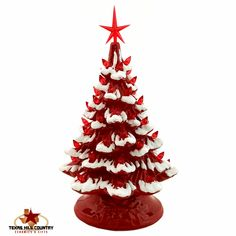 Bright Red Ceramic Christmas Tree with Snow Red Lights and Star 11 Inches Tall Tabletop Tree Electric Lighted Base - Made to Order - Texas Hill Country Ceramics Christmas Tree With Snow, Christmas Diy, Christmas Wreaths, Christmas Ornaments, Xmas Trees, Primitive Christmas, Christmas Jewelry, Country Christmas, Christmas Stuff