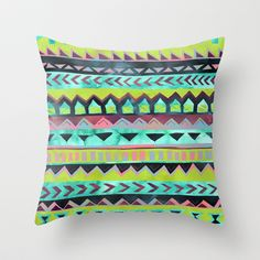 PATTERN {Tribal Stripe - Green} Throw Pillow by Schatzi Brown -20.00