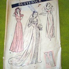 1940s Vintage Wedding Dress Pattern - Sweetheart Neckline - Evening Gown - Butterick 3174.Etsy.
