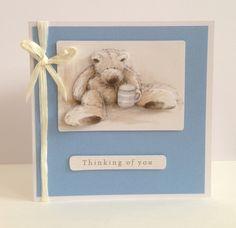Blue teddy bear card - hand made by me