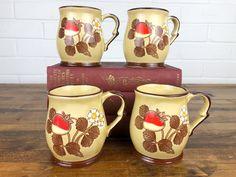 Coffee Mugs Vintage, Coffee Mug Sets, Mugs Set, White Flowers, Leaf Flowers, Strawberry Leaves, Strawberry Farm, Pottery Marks, Beige