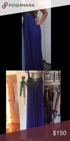 JS Collections Dark Blue Formal Dress Only worn once, still in excellent condition! Sequin top, dark blue, very comfortable. No tears, all sequins still attached. Negotiable! JS Collections Dresses Prom