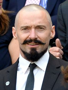 What has Hugh Jackman done to his beautiful face? Actor arrives at Wimbledon with shaved head and moustache Hugh Jackman bold beard Beard And Mustache Styles, Mustache And Goatee, Goatee Beard, Man With Mustache, Mustache Grooming, Handlebar Mustache, Men Beard, Goatee Styles, Beard Styles For Men