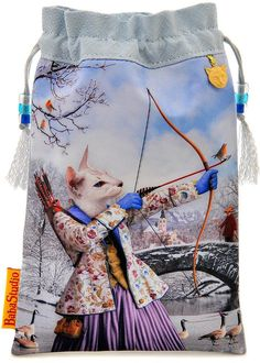 Baba Studio - Drawstring pouch- Sagittarius — limited edition with vintage silk kimono