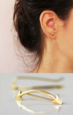 http://rubies.work/0776-emerald-earrings/ Arrow earrings Ear cuff Gold Ear pin Modern by sigalitaJD