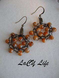 laCY life: Sunrise Crochet Earrings Tutorial; complete with instructions and pictures to crochets these earrings using wire and beads