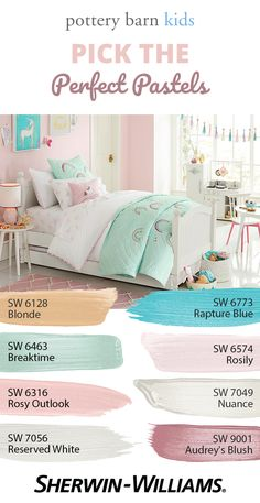 Soft sweet and slumber-rific! These hues including some from the Fall/Winter 2017 palette give any bedroom the perfect amount of childlike charm. With colors like Breaktime SW 6463 Rosily SW 6574 Nuance SW 7049 and Audreys Blush SW 9001 it Kids Bedroom Paint, Girls Room Paint, Girls Bedroom Colors, Bedroom Color Schemes, Bedroom Paint Colors, Playroom Color Scheme, Playroom Paint Colors, Pottery Barn Paint Colors, Pastel Girls Room